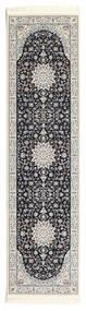 Nain Emilia - Dark Blue Rug 80X300 Oriental Hallway Runner  Light Grey/Dark Grey ( Turkey)