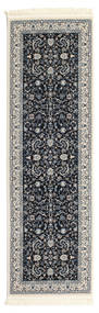 Nain Florentine - Dark Blue Rug 80X250 Oriental Hallway Runner  Dark Grey/Light Grey ( Turkey)