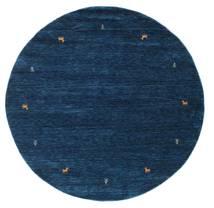 Gabbeh Loom Two Lines - Dark Blue Rug Ø 200 Modern Round Dark Blue (Wool, India)