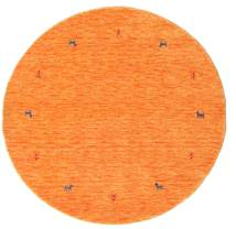 Gabbeh Loom Two Lines - Orange Rug Ø 150 Modern Round Orange (Wool, India)