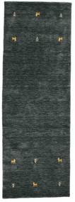 Gabbeh Loom Two Lines - Dark Grey/Green Rug 80X250 Modern Hallway Runner  Black/Dark Green (Wool, India)