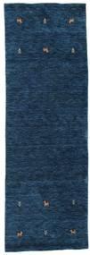 Gabbeh Loom Two Lines - Dark Blue Rug 80X250 Modern Hallway Runner  Dark Blue (Wool, India)