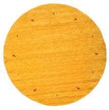 Gabbeh Loom Two Lines - Yellow Rug Ø 200 Modern Round Orange (Wool, India)