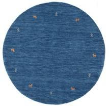 Gabbeh Loom Two Lines - Blue Rug Ø 150 Modern Round Dark Blue/Blue (Wool, India)