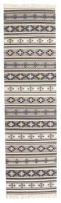 Kilim Cizre Rug 80X300 Authentic  Modern Handwoven Hallway Runner  Light Grey/Beige (Wool, India)