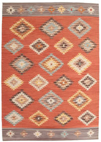 Kilim Denizli Rug 160X230 Authentic  Modern Handwoven Orange/Crimson Red (Wool, India)
