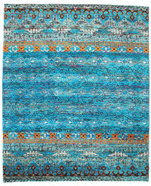 Quito - Turquoise Rug 7′10″X9′6″ Authentic  Modern Handknotted Turquoise Blue/Blue (Silk, India)