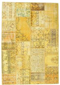 Patchwork Rug 160X228 Authentic  Modern Handknotted Yellow/Olive Green (Wool, Turkey)