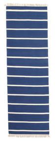 Dhurrie Stripe - Dark Blue Rug 80X300 Authentic  Modern Handwoven Hallway Runner  Blue/Beige (Wool, India)