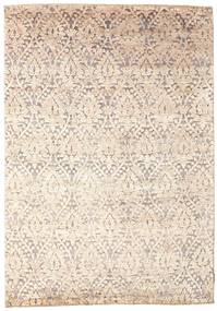 Damask Rug 170X242 Authentic  Modern Handknotted Beige/Light Grey ( India)
