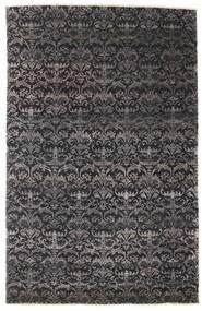 Damask Rug 164X255 Authentic  Modern Handknotted Black/Dark Brown ( India)