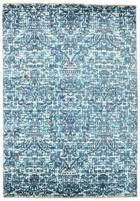 Damask Rug 170X244 Authentic  Modern Handknotted Light Blue/Blue ( India)