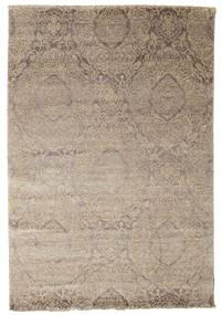 Damask Rug 165X242 Authentic  Modern Handknotted Light Grey ( India)