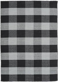 Check Kilim Rug 160X230 Authentic  Modern Handwoven Black/Light Grey (Wool, India)