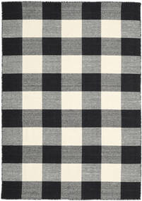 Check Kilim - Black/White Rug 160X230 Authentic  Modern Handwoven Black/Dark Grey (Wool, India)