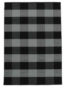 Check Kilim Rug 160X230 Authentic  Modern Handwoven Black/Purple (Wool, India)