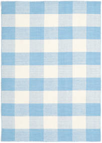 Check Kilim Rug 140X200 Authentic  Modern Handwoven Light Blue/Beige (Wool, India)