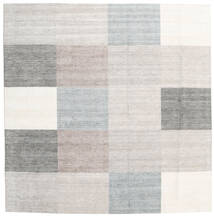 Malva - Grey Rug 250X250 Authentic  Modern Handknotted Square Light Grey/Beige Large ( India)
