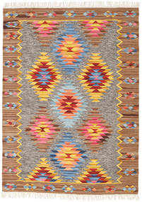 Spring Kilim Rug 140X200 Authentic  Modern Handwoven Brown/Light Grey (Wool, India)