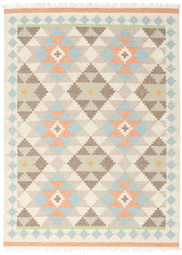 Summer Kilim Rug 210X290 Authentic  Modern Handwoven Beige/Light Grey (Wool, India)