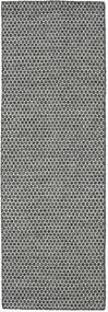 Kilim Honey Comb - Black/Grey Rug 80X240 Authentic  Modern Handwoven Hallway Runner  Light Grey/Dark Grey (Wool, India)