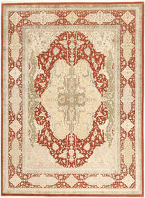 Tabriz Royal Rug 270X367 Authentic  Oriental Handknotted Beige/Dark Beige/Crimson Red Large ( India)
