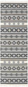 Kilim Cizre Rug 80X250 Authentic  Modern Handwoven Hallway Runner  Light Grey/Dark Grey (Wool, India)