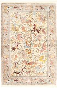 Qum Silk Rug 140X211 Authentic  Oriental Handknotted Beige/Light Pink (Silk, Persia/Iran)