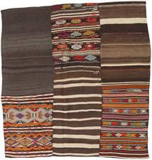Kilim Patchwork Rug 185X197 Authentic  Modern Handwoven Square Dark Brown/Dark Grey (Wool, Turkey)