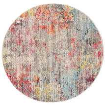 Monet - Multi Rug Ø 150 Modern Round Light Grey/Light Pink ( Turkey)