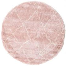Shaggy Agadir - Soft Rose/Off-White Rug Ø 200 Modern Round Light Pink/Beige ( Turkey)