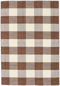 Check Kilim - Brown/White Rug 140X200 Authentic  Modern Handwoven Light Grey/Dark Red (Wool, India)