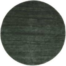 Handloom - Forest Green Rug Ø 150 Modern Round Dark Green/Dark Green (Wool, India)
