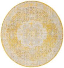 Nadia - Yellow Rug Ø 200 Modern Round Yellow/White/Creme ( Turkey)