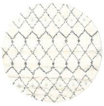 Sauda - Natural Grey Rug Ø 150 Authentic  Modern Handknotted Round Beige/White/Creme (Wool, India)