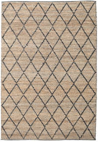 Serena Jute - Natural/Black Rug 300X400 Authentic Modern Handwoven Light Grey/Beige Large ( India)