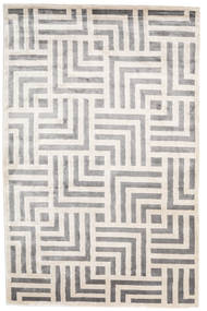 Maze Rug 200X300 Authentic  Modern Handknotted Light Grey/White/Creme ( India)