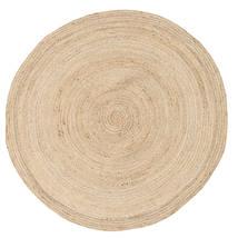Solana Plain Jute - Natural Rug Ø 150 Authentic Modern Handwoven Round Beige/Light Brown ( India)
