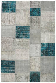 Patchwork Rug 200X302 Authentic  Modern Handknotted Light Grey/Dark Turquoise   (Wool, Turkey)