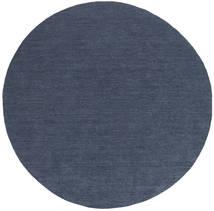 Kilim Loom - Denim Blue Rug Ø 200 Authentic  Modern Handwoven Round Blue (Wool, India)
