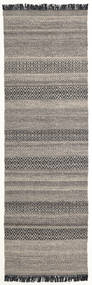 Hedda - Brown Rug 80X250 Authentic  Modern Handwoven Hallway Runner  Light Grey/Dark Grey (Wool, India)