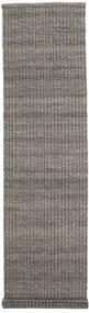 Alva - Brown/Black Rug 80X350 Authentic  Modern Handwoven Hallway Runner  Dark Grey/Light Grey (Wool, India)