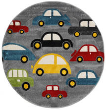 Cars Rug Ø 150 Modern Round Dark Brown/Dark Grey ( Turkey)