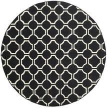 London - Black/Off White Rug Ø 225 Authentic Modern Handwoven Round Black (Wool, India)