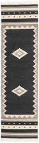 Tribal - Black Rug 80X300 Authentic  Modern Handwoven Hallway Runner  Black/Light Grey (Wool, India)