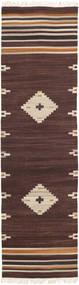 Tribal - Brown Rug 80X300 Authentic  Modern Handwoven Hallway Runner  Dark Brown/Beige (Wool, India)