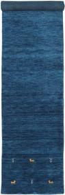 Gabbeh Loom Two Lines - Dark Blue Rug 80X450 Modern Hallway Runner  Dark Blue/Blue (Wool, India)
