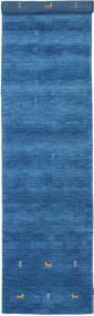 Gabbeh Loom Two Lines - Blue Rug 80X450 Modern Hallway Runner  Blue/Dark Blue (Wool, India)