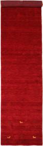 Gabbeh Loom Two Lines - Red Rug 80X450 Modern Hallway Runner  Crimson Red/Dark Red (Wool, India)