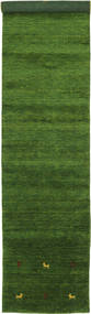 Gabbeh Loom Two Lines - Green Rug 80X450 Modern Hallway Runner  Dark Green (Wool, India)